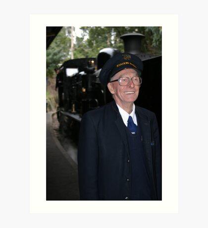 Steam train conductor Art Print