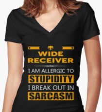 WIDE RECEIVER - SARCASM TEES AND HOODIE Women's Fitted V-Neck T-Shirt