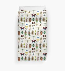 The Usual Suspects - insects on white - watercolour bugs pattern by Cecca Designs Duvet Cover