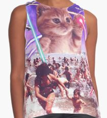 cute cat invader from space attack people with laser and ufo on earth Contrast Tank