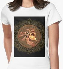 Skull with floral elements Womens Fitted T-Shirt