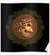 Skull with floral elements Poster