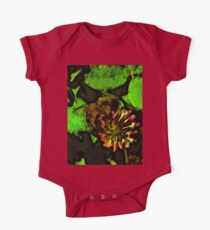Bee on Pink Clover Flower and Green Leaves One Piece - Short Sleeve