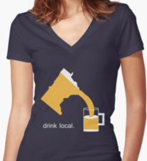 Drink Local Beer Minnesota T-Shirt Women's Fitted V-Neck T-Shirt