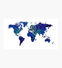 Blue worldmap over cool squares Photographic Print