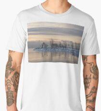 Two Swans, Sleeping - Serene Winter Lake Scene Men's Premium T-Shirt