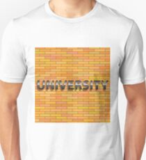 university text sign on orange brick wall Unisex T-Shirt