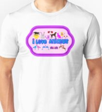 ❤↷I Love Animals-Animal Lovers↶❤ Unisex T-Shirt