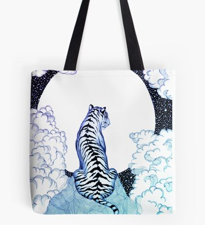 Ombre Tiger Moon Tote Bag