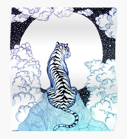 Ombre Tiger Moon Poster