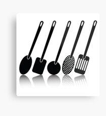 kitchen utensil silhouettes Metal Print