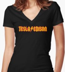 tesla edison Women's Fitted V-Neck T-Shirt