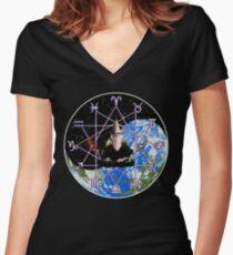 Meditating Zodiac Wizard - Occult Yin Yang Symbol Women's Fitted V-Neck T-Shirt
