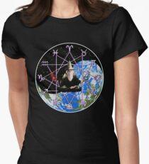 Meditating Zodiac Wizard - Occult Yin Yang Symbol Womens Fitted T-Shirt