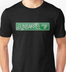 Gunbarrel Highway street sign with bullet holes Unisex T-Shirt