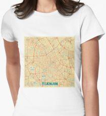 Tianjin Map Retro Womens Fitted T-Shirt