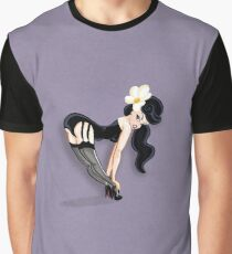 Sexy Brunette Pinup on Purple Graphic T-Shirt