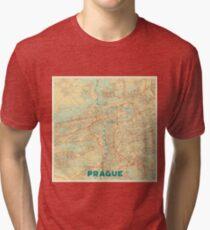 Prague Map Retro Tri-blend T-Shirt