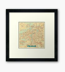 Prague Map Retro Framed Print