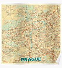 Prague Map Retro Poster
