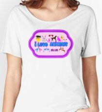 ❤↷I Love Animals-Animal Lovers↶❤ Women's Relaxed Fit T-Shirt