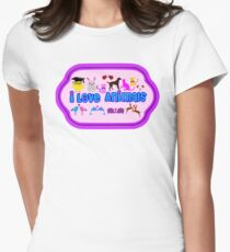 ❤↷I Love Animals-Animal Lovers↶❤ Womens Fitted T-Shirt
