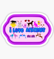 ❤↷I Love Animals-Animal Lovers↶❤ Sticker