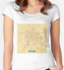 Dijon Map Retro Women's Fitted Scoop T-Shirt
