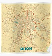 Dijon Map Retro Poster