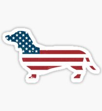 Patriotic Daschund American Flag Cool Wiener Dog Sticker