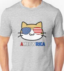 Funny Meowrica Patriotic Cat Pun America Flag Colors Unisex T-Shirt