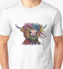 Scottish Hairy Highland Cow ' ROCK A BILLY ' by Shirley MacArthur Unisex T-Shirt