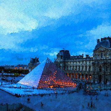 Impressions of Paris - Louvre Pyramid Evening by GeorgiaM