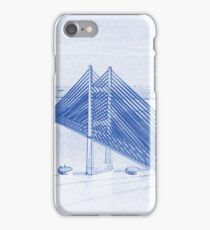 Blueprint Drawing of Bay Beach Bridge City Landscape iPhone Case/Skin