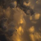 Storm Clouds Sunset - Ominous Grays and Yellows - a Vertical View by Georgia Mizuleva