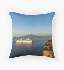 Sunset Postcard from Sorrento - the Sea, the Cliffs and Vesuvius Volcano Behind the Criuse Ship Throw Pillow