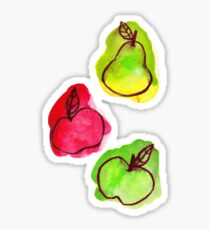 Apples and Pear Watercolor Sticker