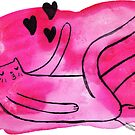 Pink Long Leggy Love Cat Watercolor by SaradaBoru