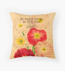Books quotes & Flowers Vintage Retro Throw Pillow