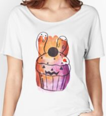 Spooky Watercolor Cupcake Women's Relaxed Fit T-Shirt