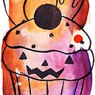 Spooky Watercolor Cupcake by SaradaBoru