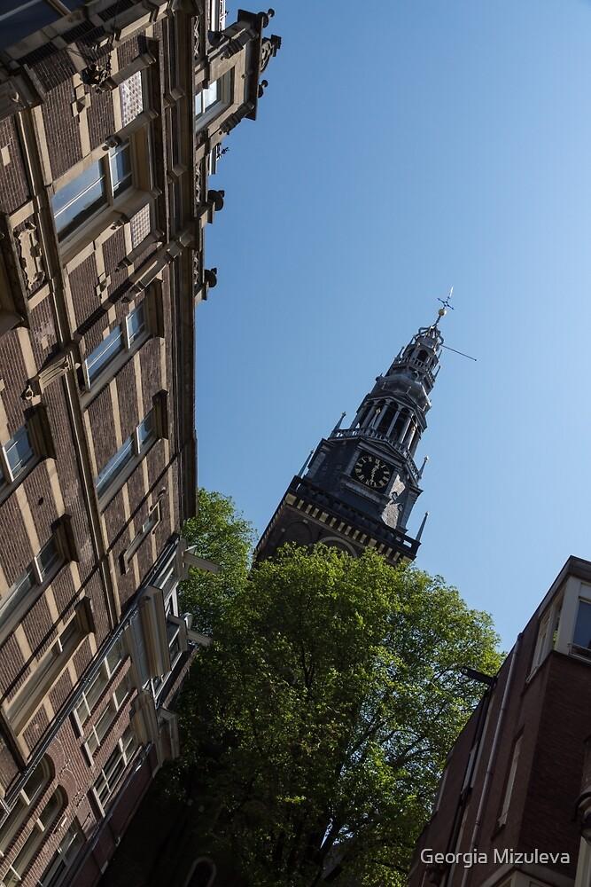 Springtime Amsterdam - High Noon Church Clock - Right Vertical by Georgia Mizuleva