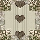 green and beige patchwork quilt with hearts by gameover