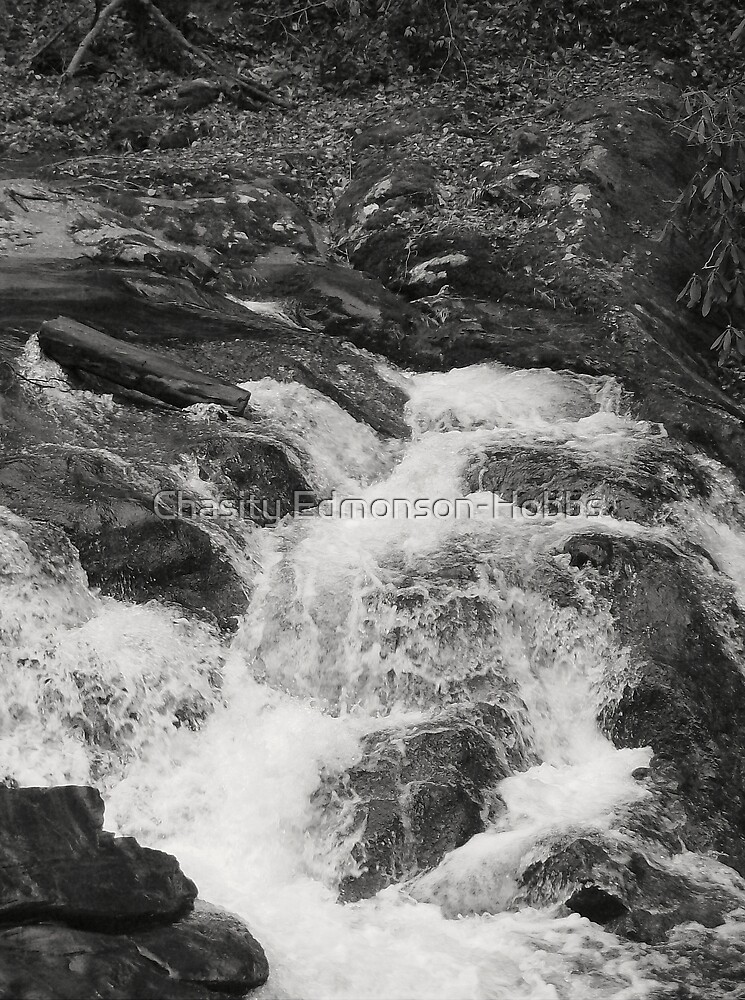 Water Fall in black and white by Chasity Edmonson-Hobbs