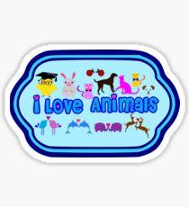 ❤↷I Love Animals-Animal Lovers↶❤ Sticker