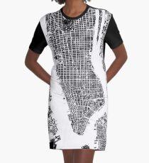 New York City Karte schwarz und weiß T-Shirt Kleid