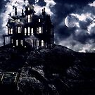 Haunted creepy house in ghastly moonlight by gameover