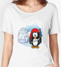 Shirt, shirt with design animal graphics aquatic penguin pirate of the caribbean on ice antarctica for man and woman, Women's Relaxed Fit T-Shirt