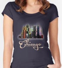 Chicago, Illinois watercolor pencil Women's Fitted Scoop T-Shirt