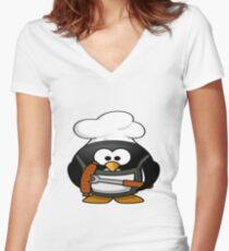 Shirt, design shirt with penguin animal graphics on the barbecue and skewer with limguiça for man and woman, Women's Fitted V-Neck T-Shirt